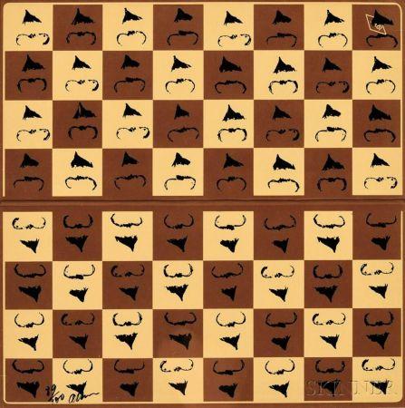 Serigrafía Arman - Chessboard in Hommage to Marcel Duchamp's L.H.O.O.Q.