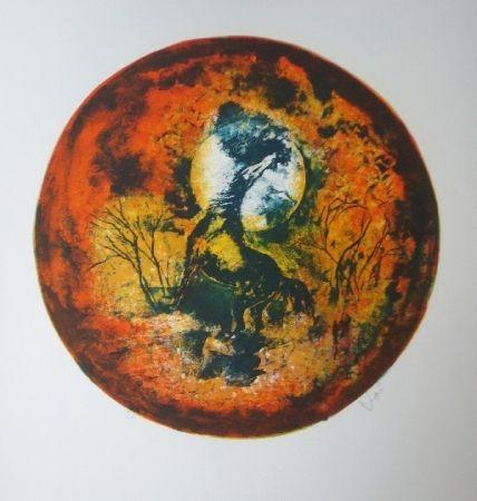 Litografía Lebadang - Cheval clair lune