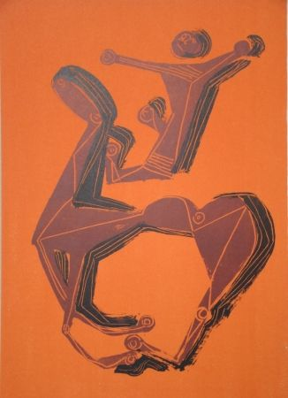 Litografía Marini - Cheval et cavalier sur fond orange
