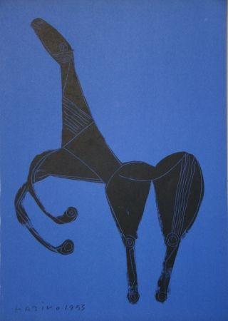 Litografía Marini - Cheval sur fond bleue