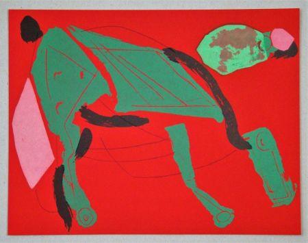 Litografía Marini - Cheval sur fond rouge