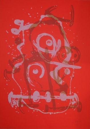 Litografía Miró - Chevauchée orange