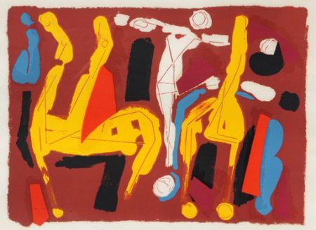 Litografía Marini -  Chevaux et cavalier V, 1974