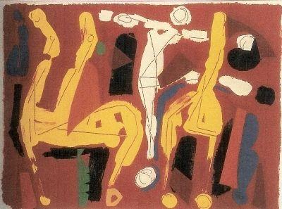 Litografía Marini - Chevaux et Cavaliers V