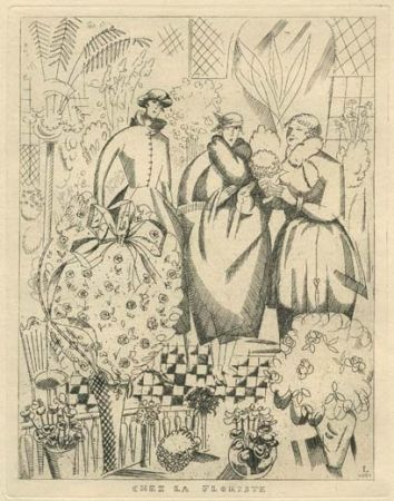 Aguafuerte Laboureur - Chez la floriste (fleuriste)