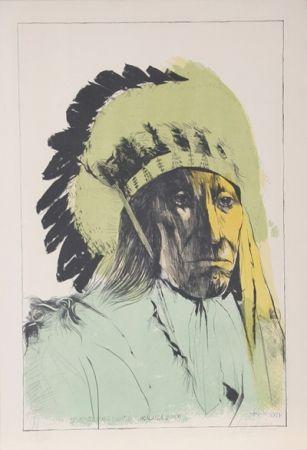 Litografía Baskin - Chief American Horse - Oglalla Sioux