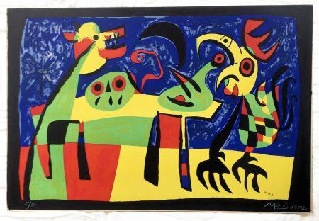 Litografía Miró - Chien aboyant à la Lune (1952)