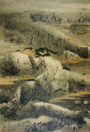 Litografía Wang - Chinese mountain landscape