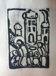Aguafuerte Y Aguatinta Rouault - Christ among the poor