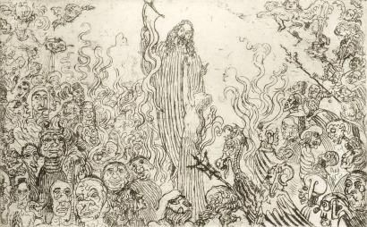 Aguafuerte Ensor - Christ descendant aux enfers