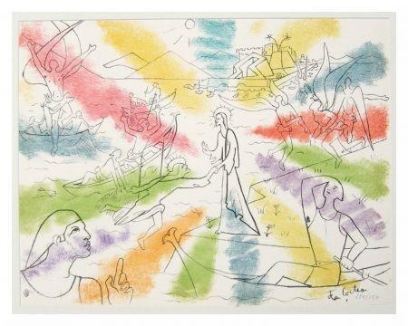 Litografía Cocteau - Christ Et Pêcheurs