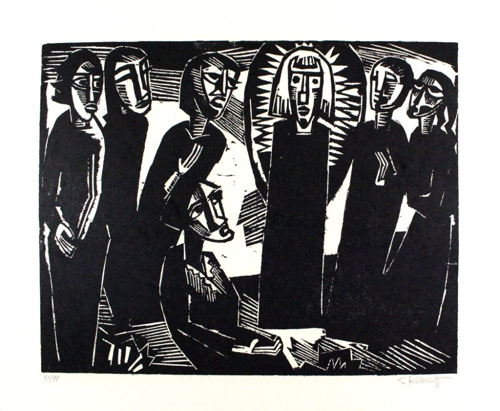 Grabado En Madera Schmidt-Rottluff -  Christus unter den Frauen / Christ among the Women