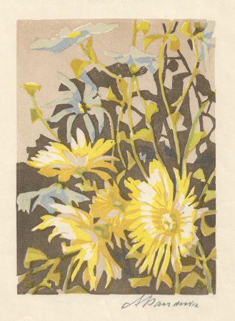 Grabado En Madera Baudnik - Chrysanthemen