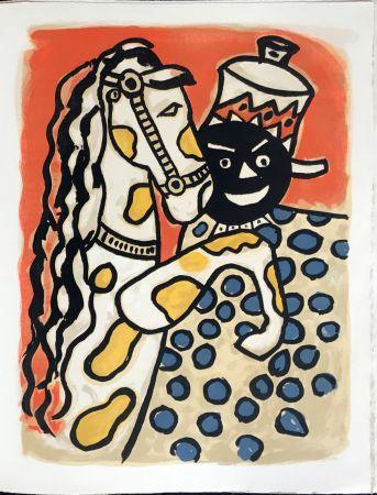 Litografía Leger - Cirque : Clown et Cheval. 1950
