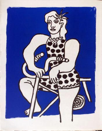 Litografía Leger - Cirque : Cycliste sur fond bleu. 1950