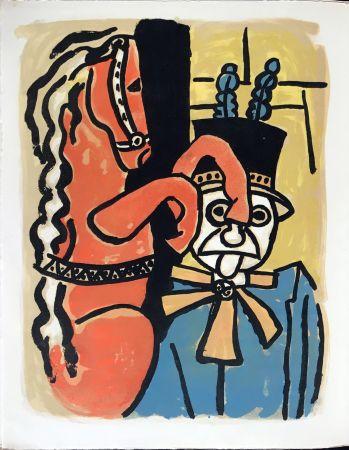 Litografía Leger - Cirque : Dompteur et cheval. 1950