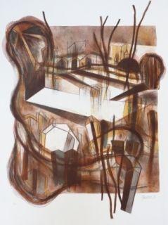 Litografía Macotela - Ciudad y sombras
