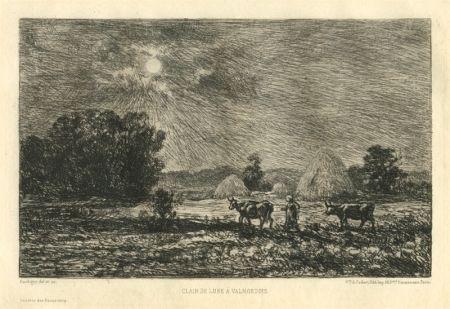 Grabado Daubigny - Clair de lune à Valmondois
