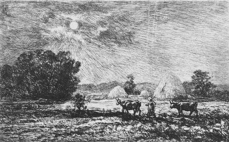 Aguafuerte Daubigny - Clair de lune a Valmondois