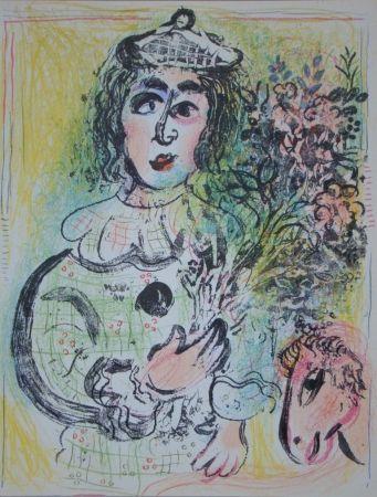 Litografía Chagall - Clown avec des fleurs