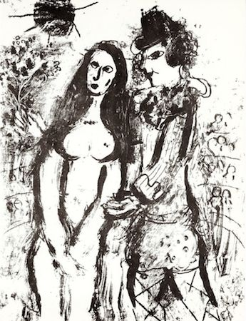 Litografía Chagall - Clown in Love