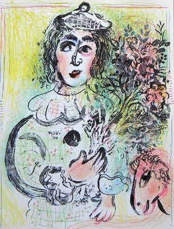 Litografía Chagall - Clown With Flowers
