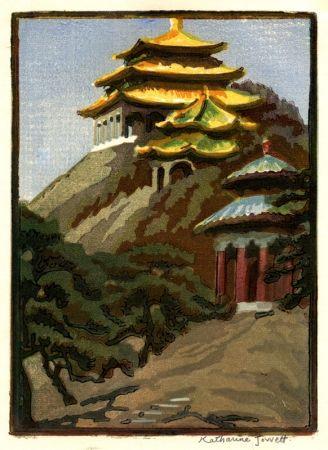 Grabado En Madera Jowett  - Coal Hill, Peking