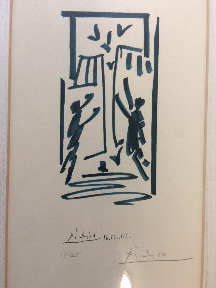 Litografía Picasso - Colombes et prisonniers (pour les exiles espagnols)