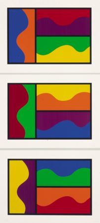 Serigrafía Lewitt - Colors Divided By Wavy Lines