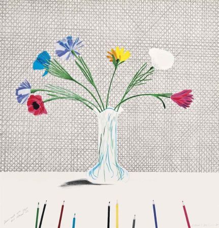 Litografía Hockney - Coloured Flowers Made Of Paper And Ink