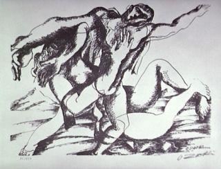 Litografía Zadkine - Combat Avec L'amazone Hippolyte