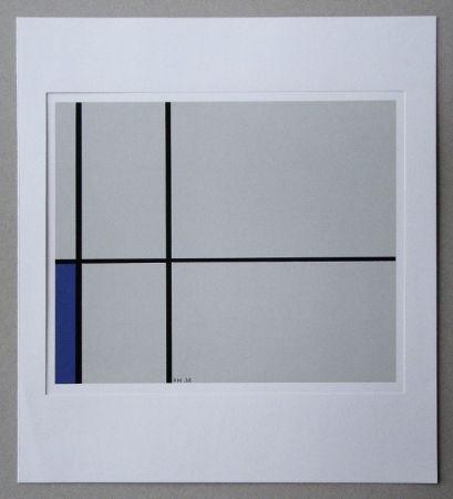 Serigrafía Mondrian - Compositie met blauw - 1938