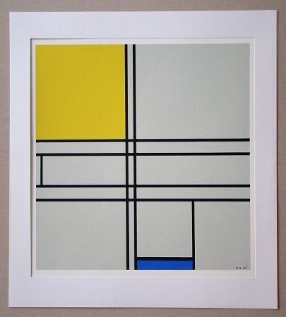 Serigrafía Mondrian - Compositie met blauw en geel - 1935