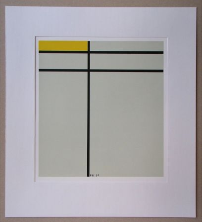 Serigrafía Mondrian - Compositie met geel - 1935
