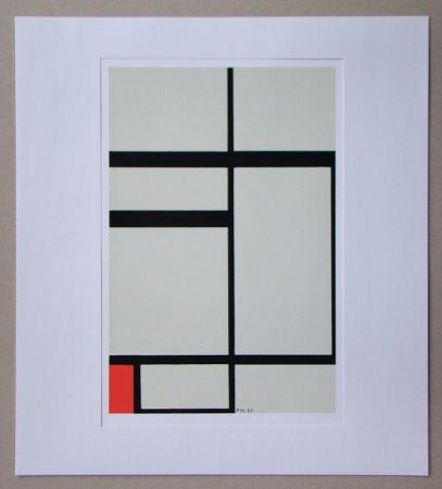 Serigrafía Mondrian - Compositie met rood - 1931