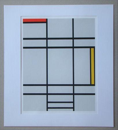 Serigrafía Mondrian - Compositie met rood en geel - 1935