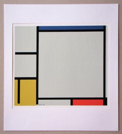 Serigrafía Mondrian - Compositie met rood, geel en blauw - 1922