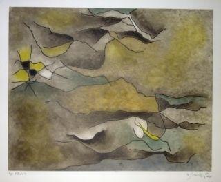 Aguafuerte Y Aguatinta Singier - Composition abstraite