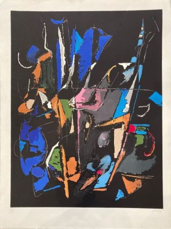 Litografía Lanskoy - Composition abstraite sur fond noir