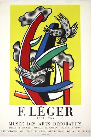 Litografía Leger -  Composition au 2 Oiseaux 1955    Musée  des Arts Décoratifs  1956