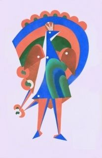 Litografía Larionov - Composition au paon