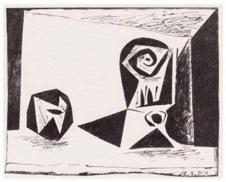 Litografía Picasso - Composition Au Verre À Pied