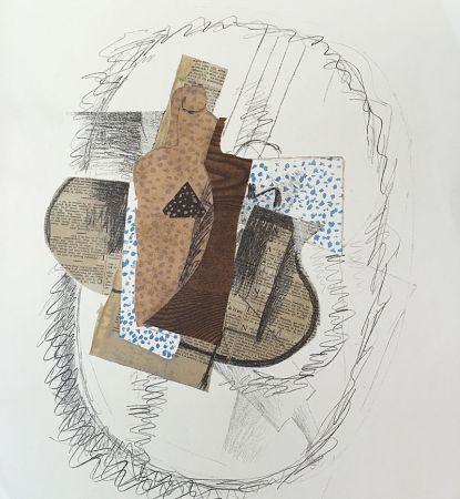Litografía Braque (After) - Composition au violon et journal découpé