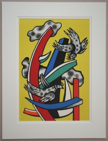 Litografía Leger - Composition aux deux oiseaux sur fond jaune, 1955