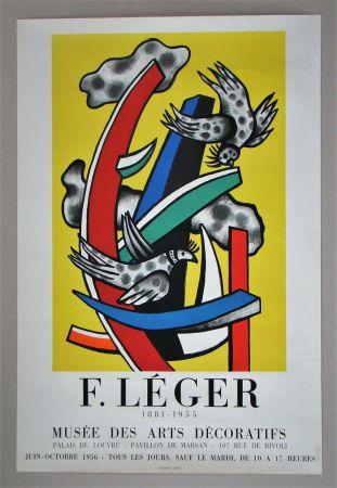 Cartel Leger - Composition aux deux oiseaux sur fond jaune, 1955