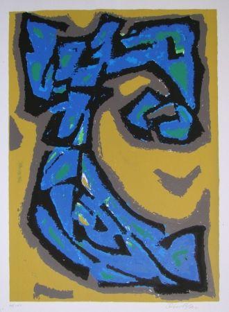 Litografía Blass - Composition blau auf ocker