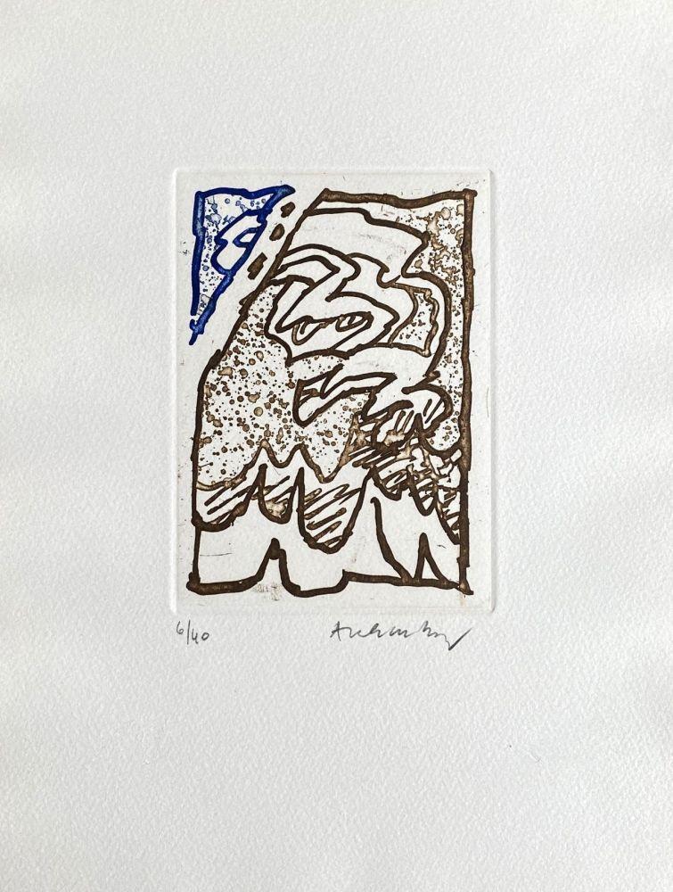 Grabado Alechinsky - Composition bleu