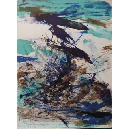 Litografía Zao - Composition bleu et brune