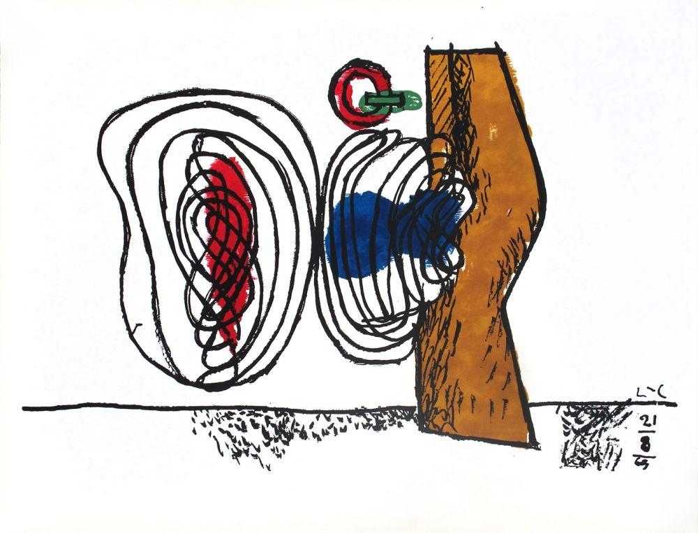 Litografía Le Corbusier - Composition bleu et rouge