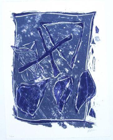 Litografía Humair - Composition bleue et mauve